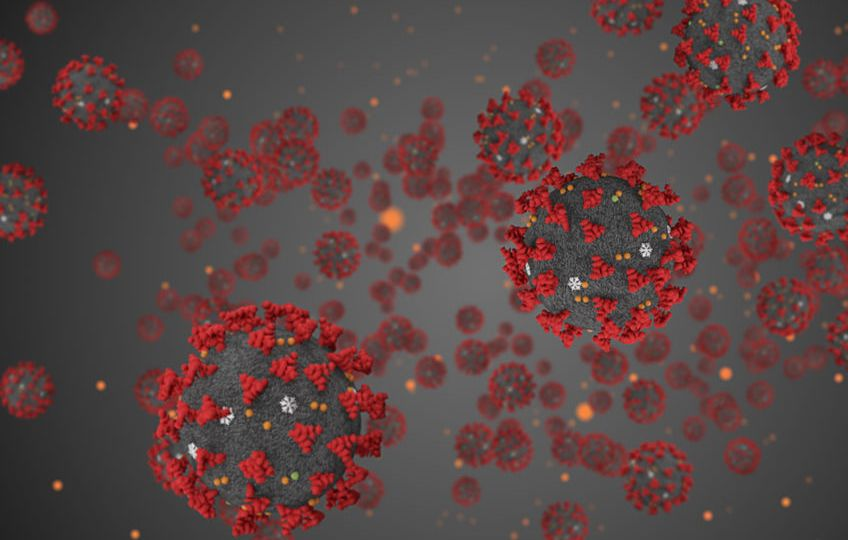 3D rendering, coronavirus cells covid-19 influenza flowing on gr