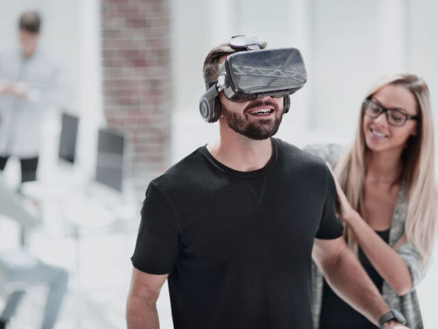 Digital Screen with young people using a virtual reality headset